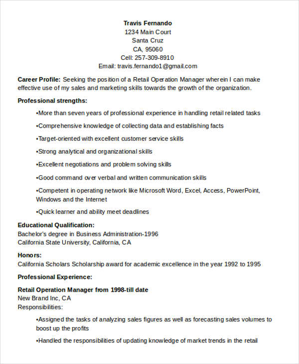 Retail Operations Manager Resume