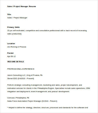 Sales Project Manager Resume 1
