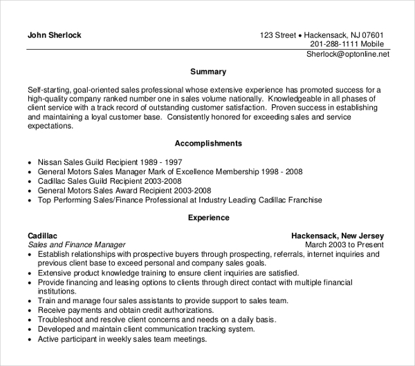 Sales and Finance Manager Resume 1