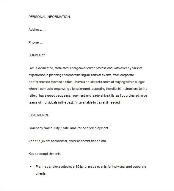 Sample Event Planner Resume