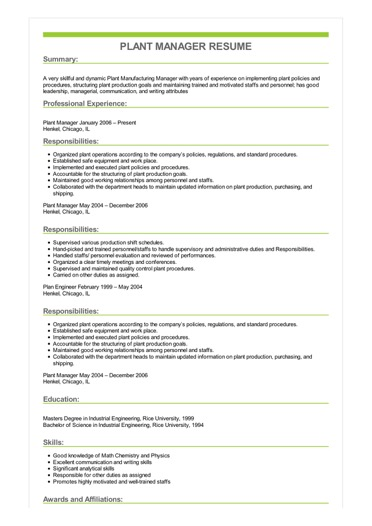 Sample Plant Manager Resume Image