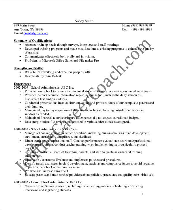 School Administrative Manager Resume