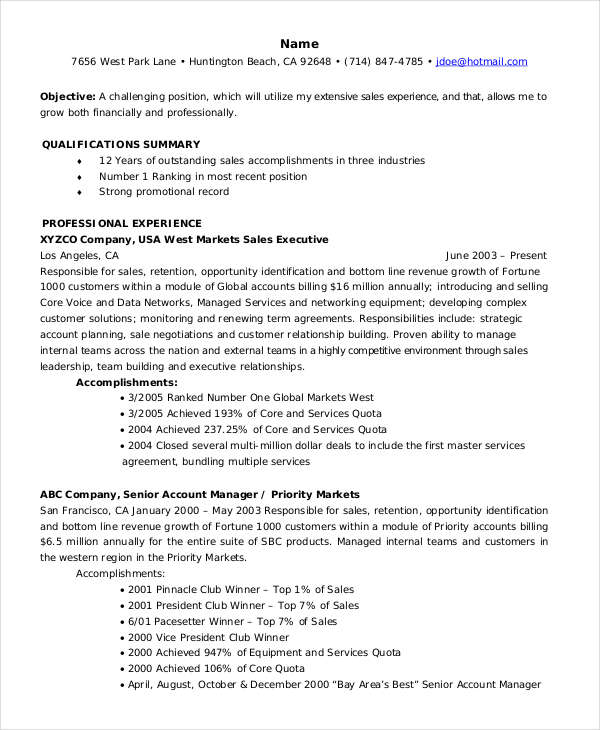 Senior Accounts Manager Resume