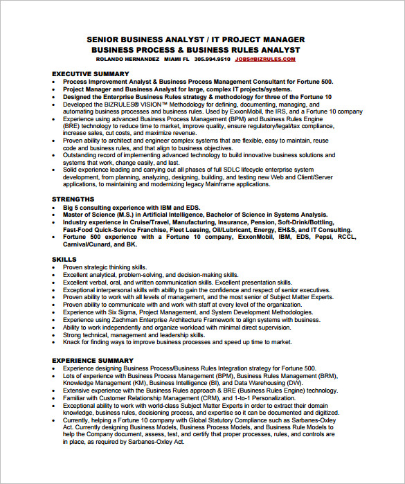 Senior Business Analyst Resume templates 1