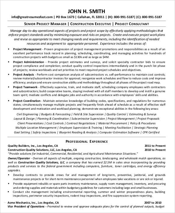 Senior Project Management Resume