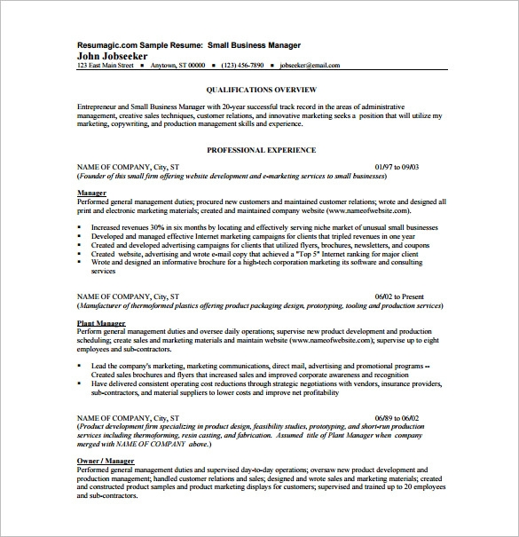 Small Business Manager Resume templates