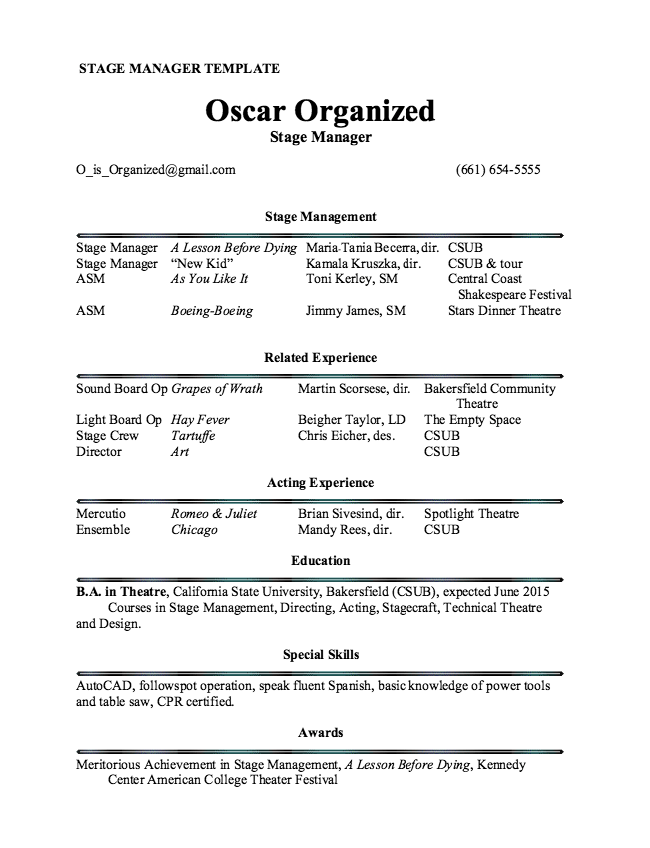 stage manager resume