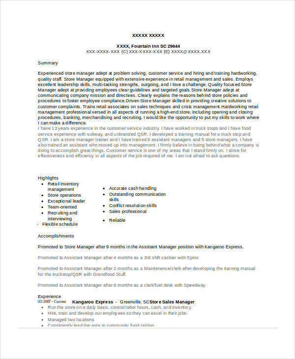Store Sales Manager Resume