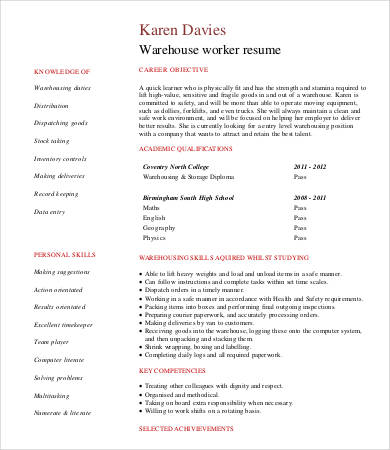 Student Warehouse Worker Resume