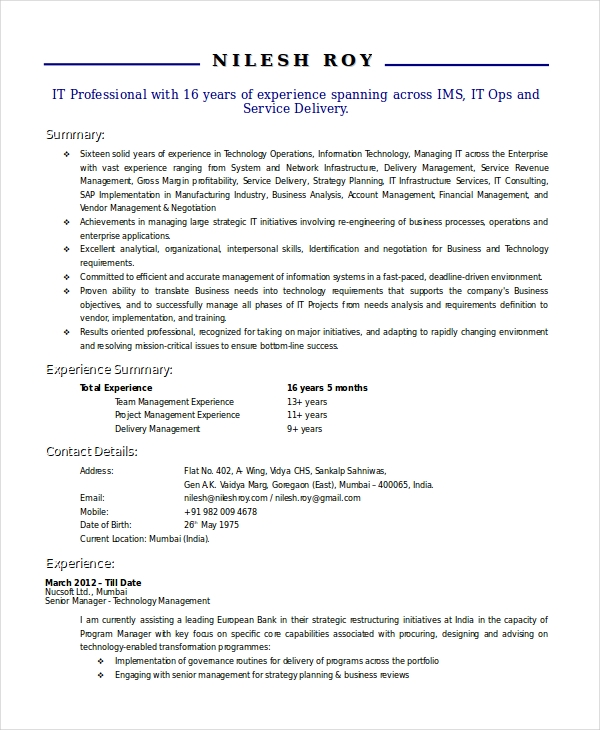 Technical Manager Resume 1