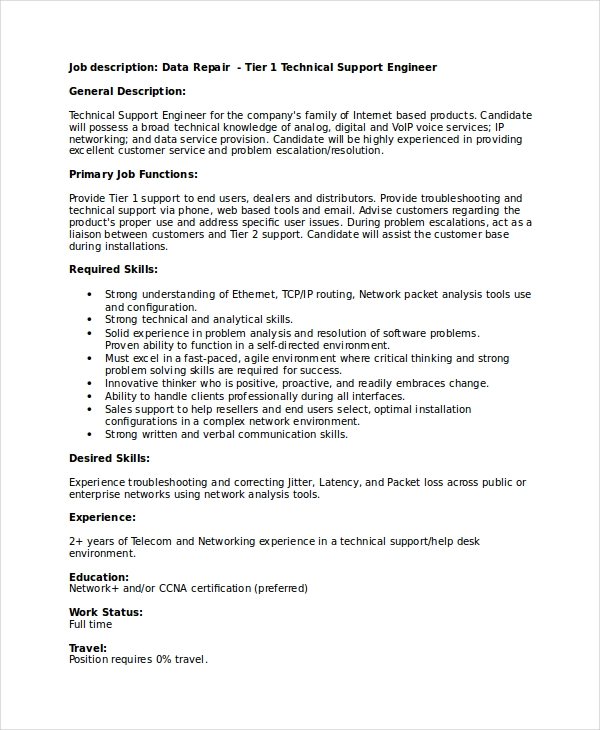 Technical Support Engineer Resume 1