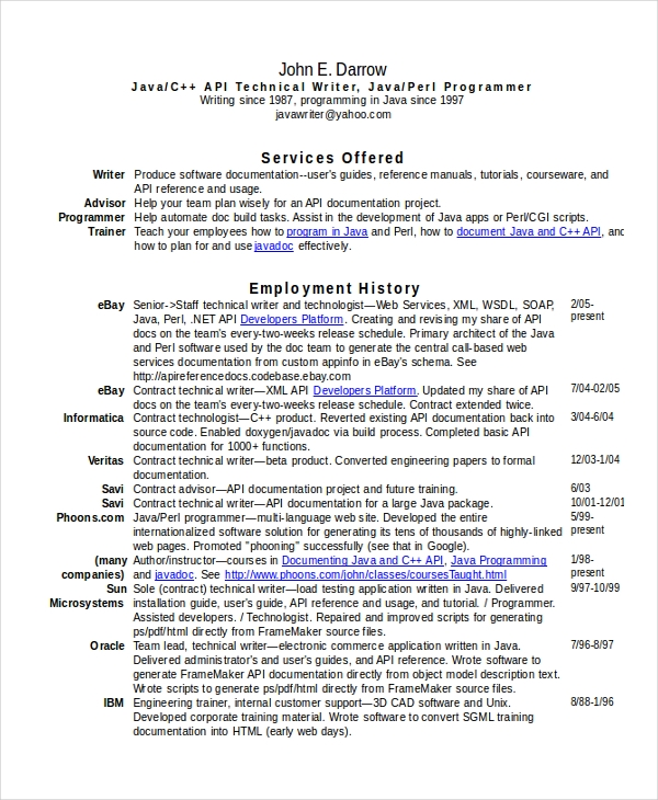 Technical Writer Resume