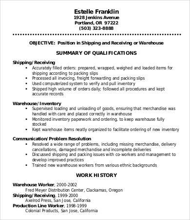 Warehouse Worker Order Picker Resume