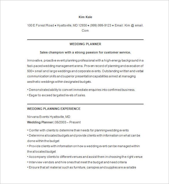 Wedding Event Planner Resume