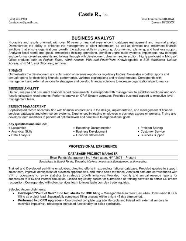 agile business analyst resume template