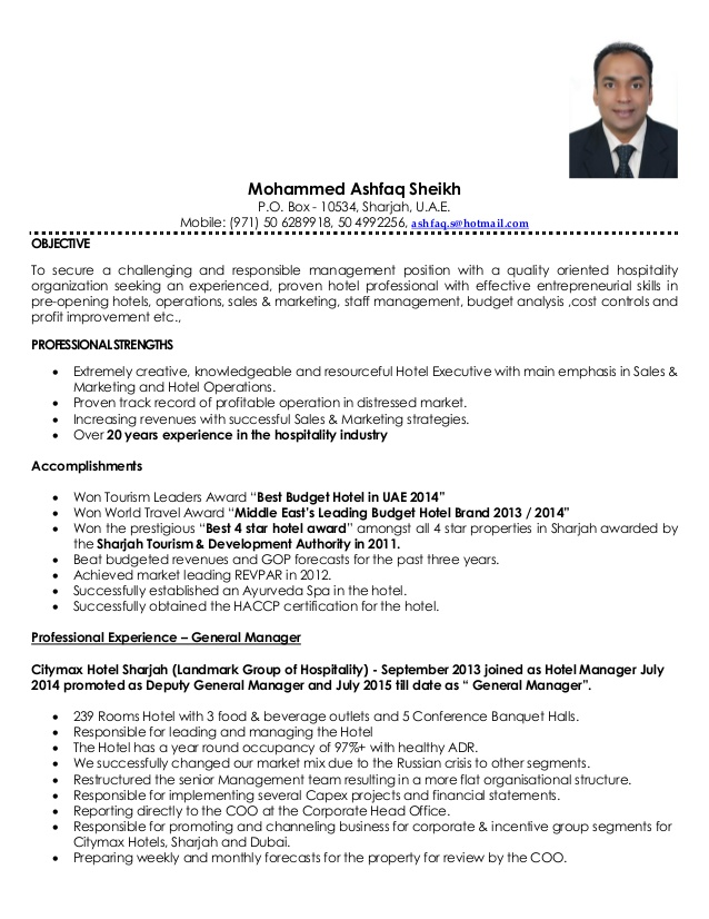 ashfaq sheikh resume general manager