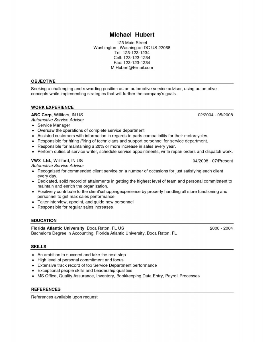 Service Manager Resume