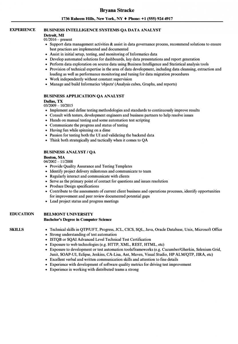 business analyst qa analyst resume sample