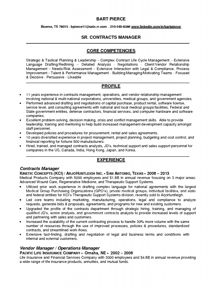 contract manager resume example