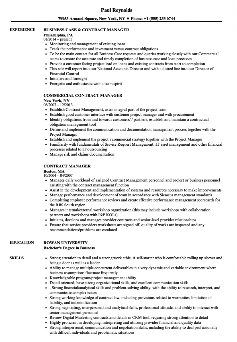 contract manager resume sample