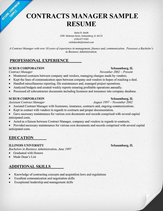 contracts manager resume sample template