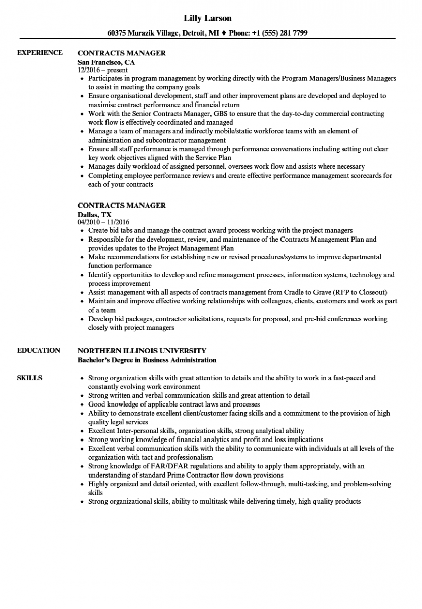 contracts manager resume sample