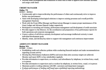 credit manager resume sample