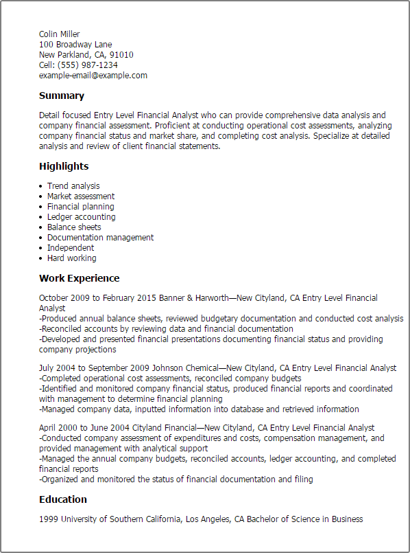 entry level financial analyst