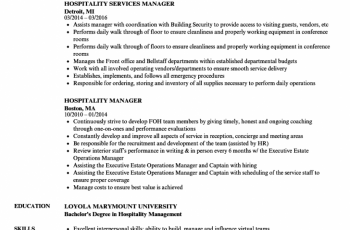 hospitality manager resume sample