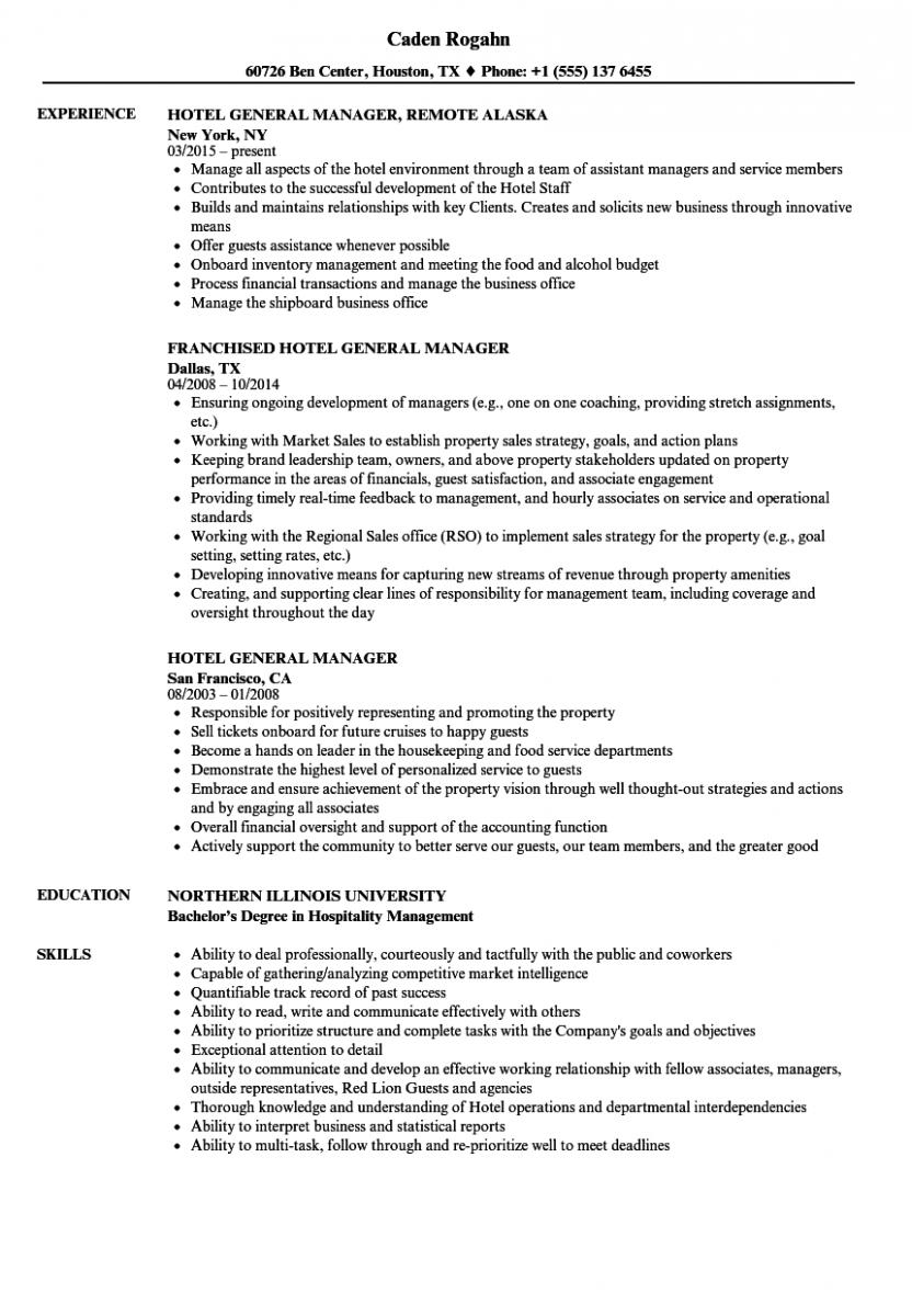 hotel general manager resume sample