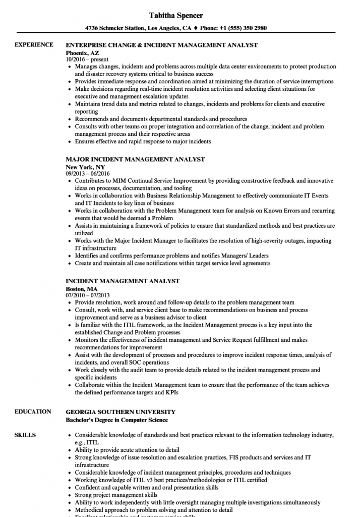 incident management analyst resume samples
