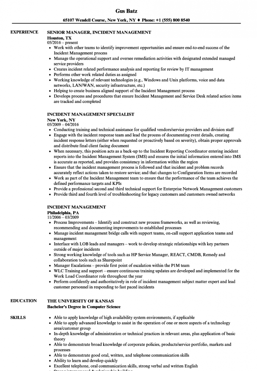 incident management resume sample