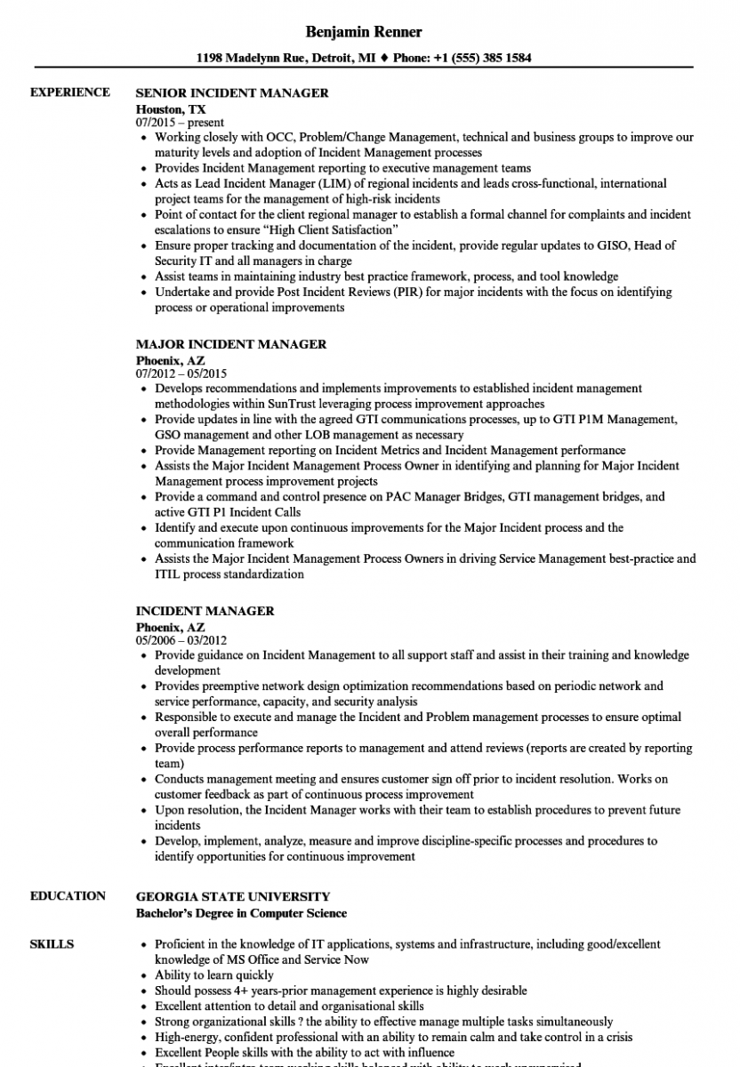 incident manager resume sample