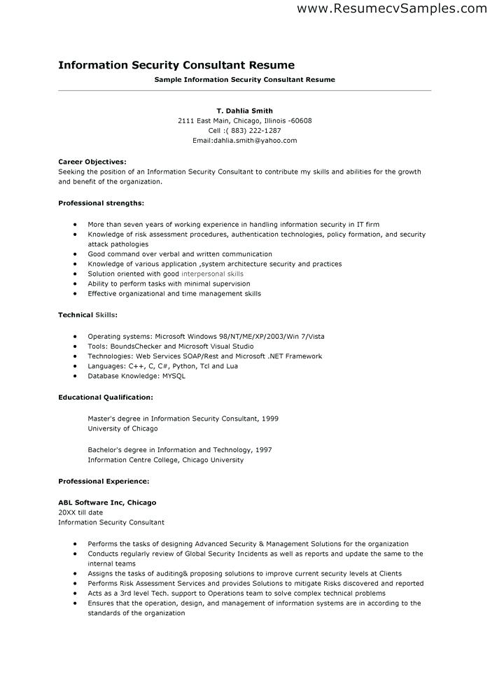 Information Security Manager Resume Trend It Examples Samples