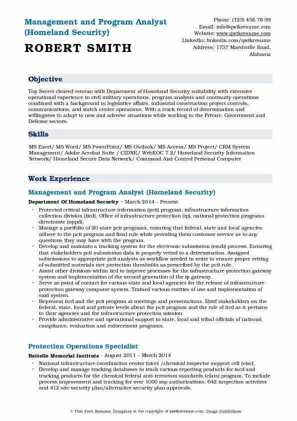 management and program analyst sample resume