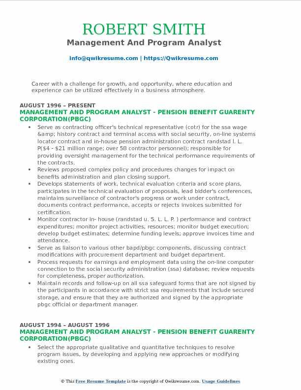 Program Analyst Resume