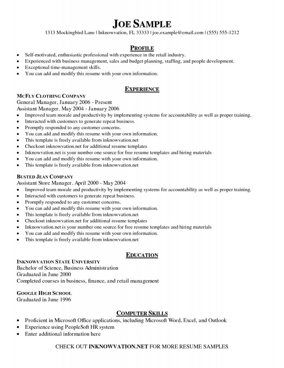management skills resume simple management