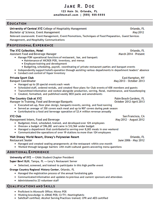 manager hotel resume