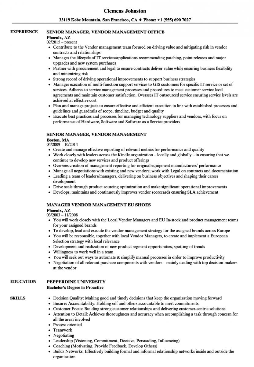 manager vendor management resume sample