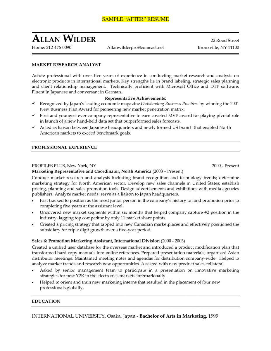 marketing research resume example