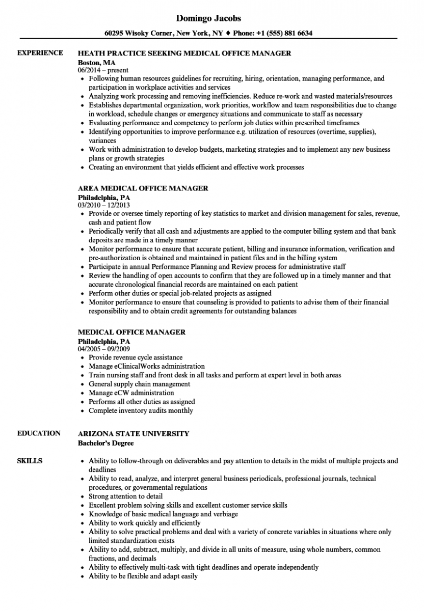 medical office manager resume sample