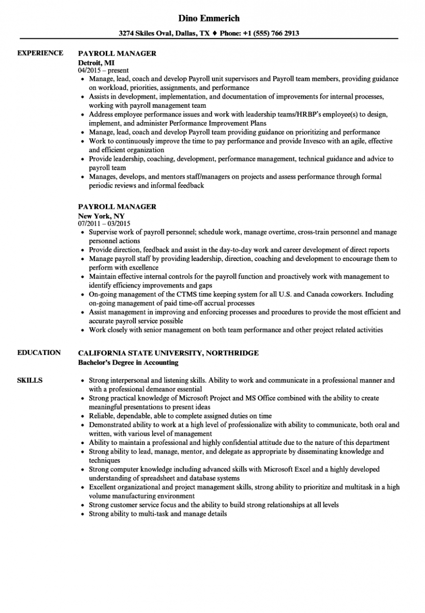 payroll manager resume sample