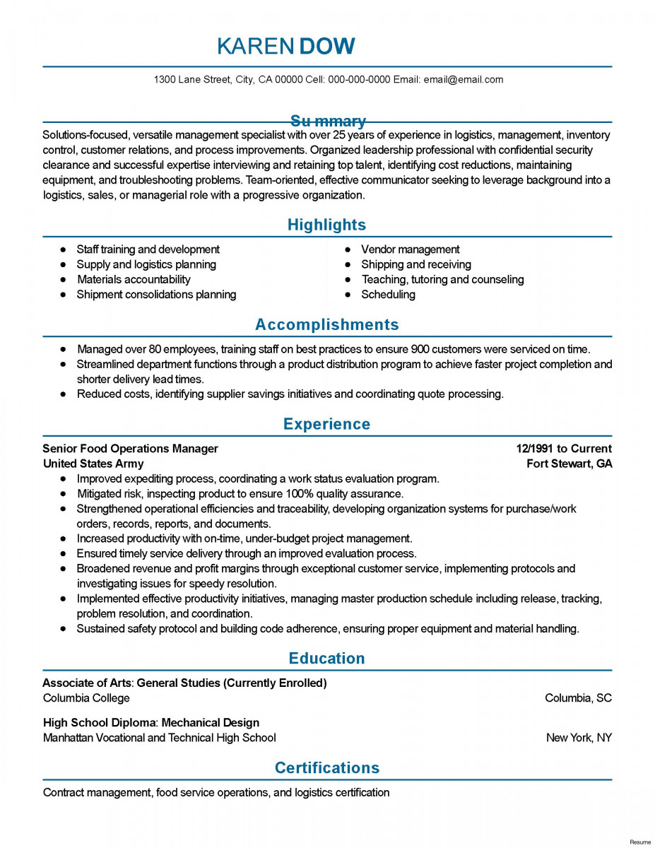 plant manager resume for a job