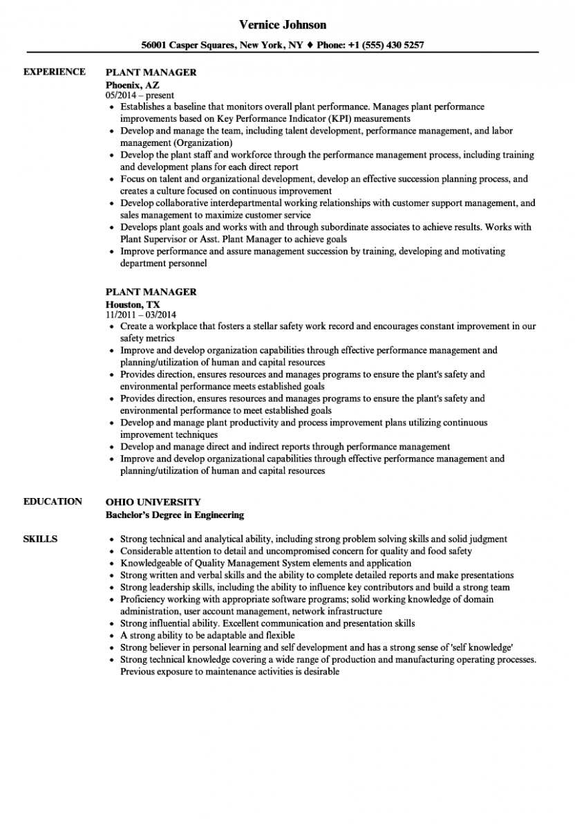 plant manager resume sample