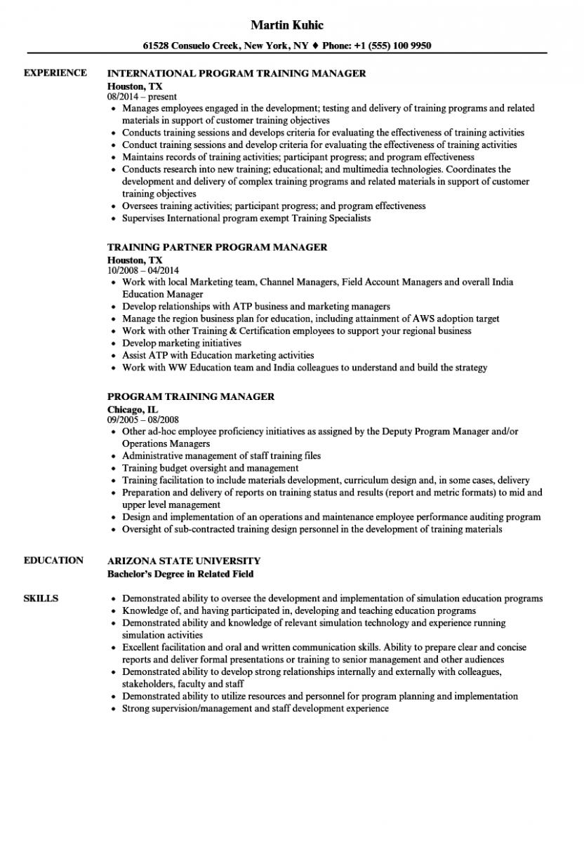 program training manager resume sample