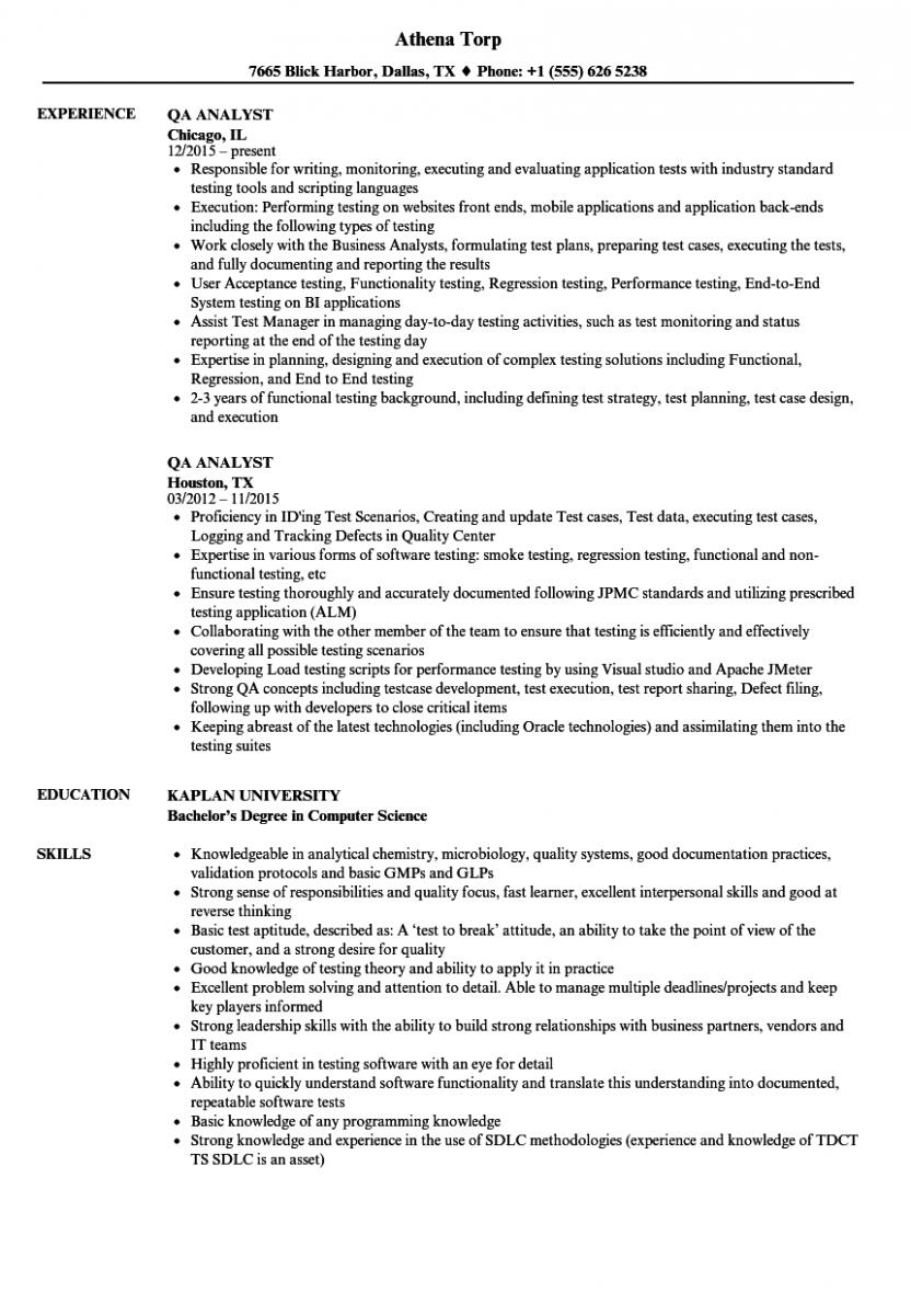 qa analyst resume sample