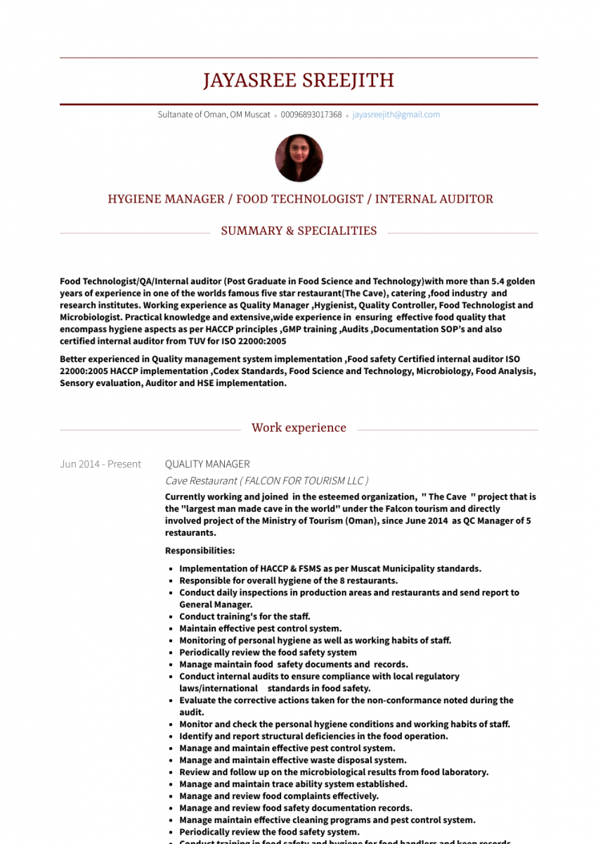 quality manager resume template