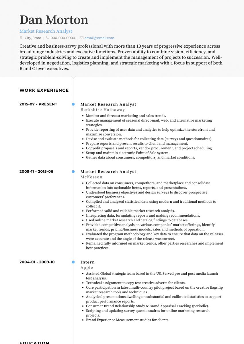 research analyst cv examples air