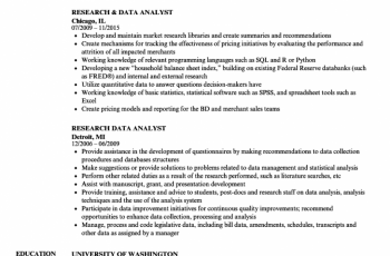 research data analyst resume sample