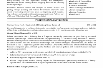 restaurant district manager resume template